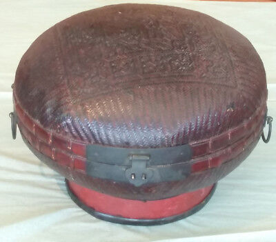 Antique Chinese Bamboo Woven Hat Box Round Lockable Elevated Stand Tibetan Wan
