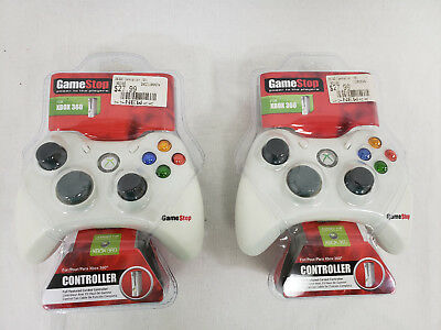 LOT OF 2 Gamestop Wired Controller For Xbox 360 WHITE NEW !!