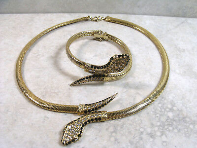 Vintage Gold Tone Snake Serpent Necklace & Bracelet Set