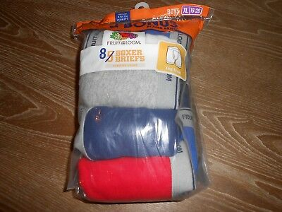 !!! Great Deal On 8 Pair Of Boy's Fruit Of The Loom Boxer Briefs Size Xl 18-20 !