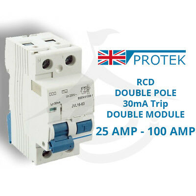 PROTEK RCD 30mA 240V 25A 40A 63A 80A 100A Double Pole Residual Current Device