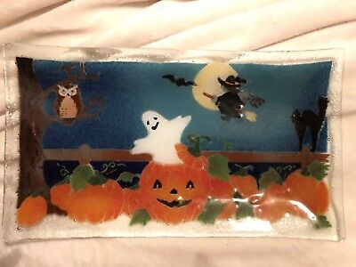 14 Inch TRAY Peggy Karr Glass Halloween Pumpkin Ghost Witch Fused Art SIGNED