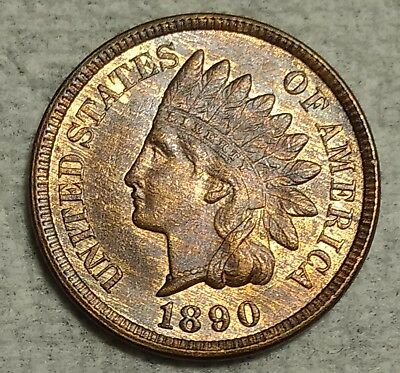 Brilliant Uncirculated 1890 Indian Head Cent! Blazing red-brown specimen!