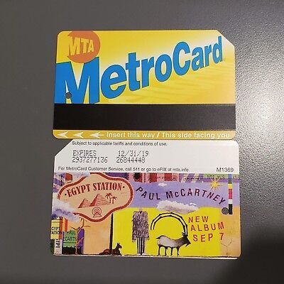 PAUL MCCARTNEY Egypt Station LIMITED EDITION NYC MTA Metrocard 2 RIDES INCLUDED