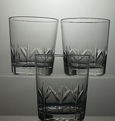 "TUDOR LEAD CRYSTAL CUT GLASS TUMBLERS SET OF 3 - 3 1/2""(9 cm)TALL"