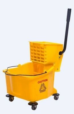 38 Quart Commercial Large Yellow Mop Bucket With Wringer, 9.5 Gallon,