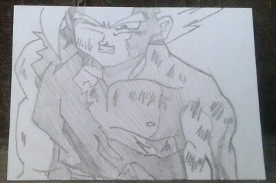 GOHAN original SIGNED trading card PENCIL DRAWING anime fan ACEO ART OUTSIDER