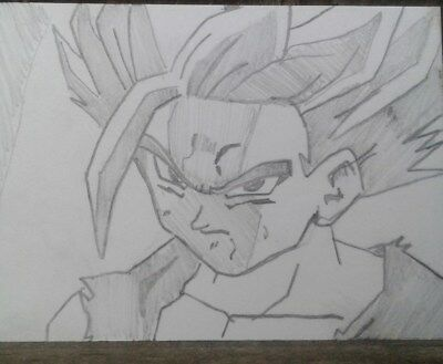 GOHAN original SIGNED art trading card ACEO Dragon Ball Z PENCIL DRAWING anime