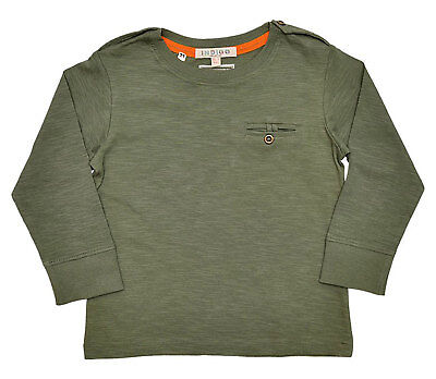 Boys T Shirt Top Long Sleeves Olive Green Ages 18M-2 Years