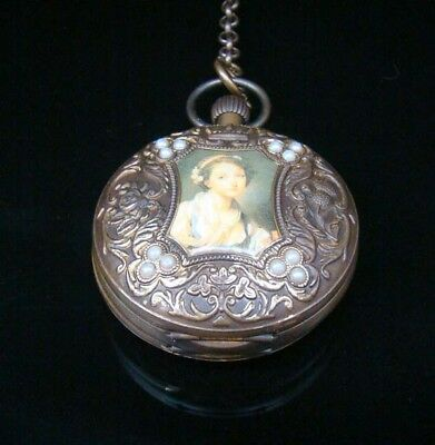 Collectible Classical Handmade Mechanical Pocket Watch Copper Brass two open