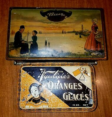 LOT OF 2 Vintage Candy Tins ~ Lot Of Two Antique Tins ~ Vantines & Vassar