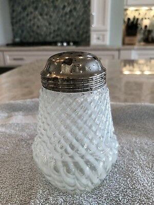 ANTIQUE SUGAR SHAKER  Chrysanthemum Base Swirl - White GLASS Muffineer ca1889