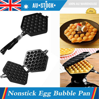 Non-Stick Electric Bubble Egg Cake Maker Oven Waffle Pan Kitchen Baker Machine