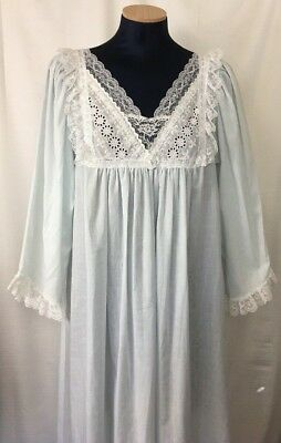 2c20002815 Christian Dior Lingerie Womens Nightgown Sz M Blue W  Lace Eyelet Trim  Classic