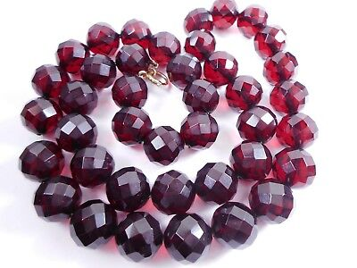 40.8g Antique Art Deco Faceted Cherry Amber BAKELITE Bead Necklace Simi Tested