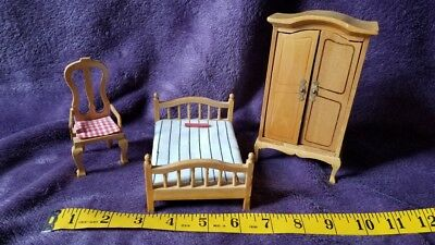 Miniature Furniture for Doll House - Bed, Cabinet, and Chair