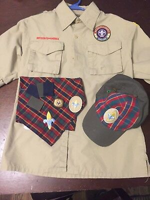 Boy Scouts if America shirt, youth size L with Webelos hat/neckerchief/slide