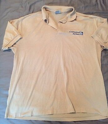 Vintage Continental Airlines Employee Collared Shirt Beige XL USA