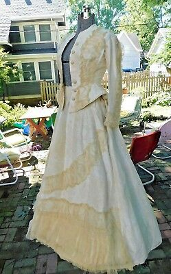 Authentic Org Victorian Satin  Lace Wedding Gown / Suit W Train
