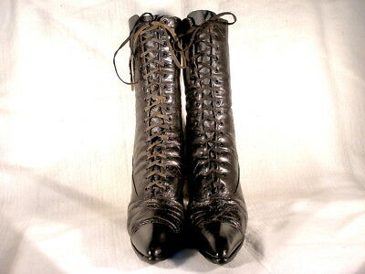 Antique Victorian Period Black Leather Lace Up Boots Us 8