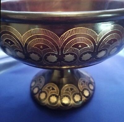 Antique Handcrafted Russian Wood Pedestal Bowl with Ornate Silver Inlay
