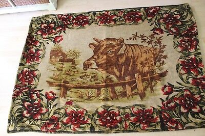 Victorian Buggy Sleigh Blanket With Bull / Cow Glass Eye & Flowers Stroock Label
