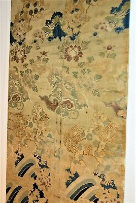 """Antique Chinese Tapestry Panel Pixiu for Feng Shui 46""""x 26"""" silk gold thread"""
