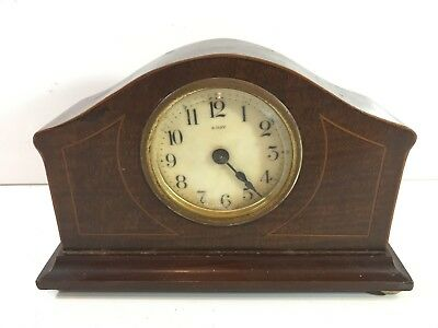 Vintage 8 Day Mantel Cartridge Clock Wooden Framed Mechanical Windup Collectable