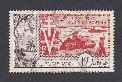 1954 ST PIERRE & MIQUELON 15f. 10th Anniv of Liberation Normandy landing USED