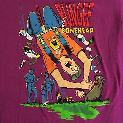 Bungee Jump Bonehead Graphic Novelty T Vintage Shirt 1992 90's RARE Authentic