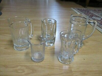 5- Great Old Time Soda Fountain Glass Mugs