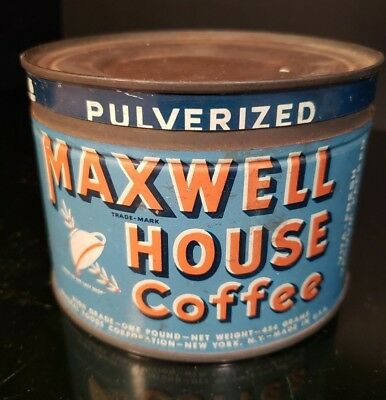 Vintage Maxwell House 1 Pound Coffee Can Tin w/ Lid Rare Pulverized Grind USA