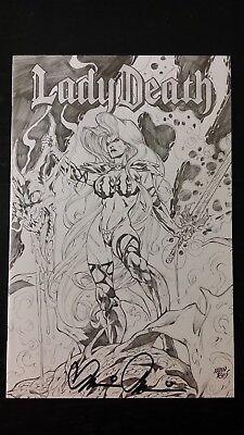 1998 Chaos Comic Lady Death Dragon Wars Premium Sketch Cover Signed Brian Pulid0