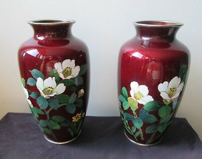 Lot of TWO Pair Antique old SHOWA Period JAPANESE Red Floral Cloisonne Vase's