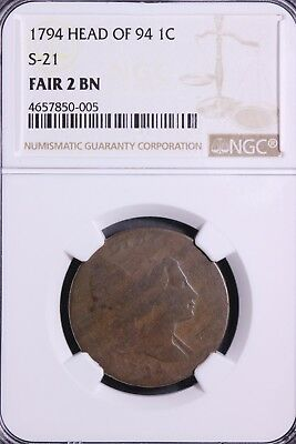 1794 Head of 94 Flowing Hair Large Cent NGC FAIR 2 S-21            1-2ACMT