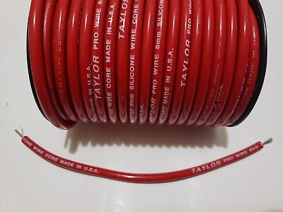 8mm RED silicone SOLID WIRE CORE SPARK PLUG WIRE TAYLOR by the foot 0 ohms/ft