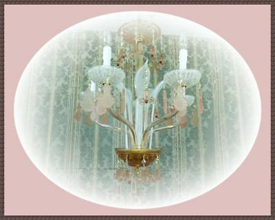 Vintage Hand Made Venetian Crystal Chandelier Pink & White Unique Rare Beauty!