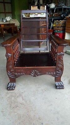Antique Carved Wood Morris Chair Paw Foot.