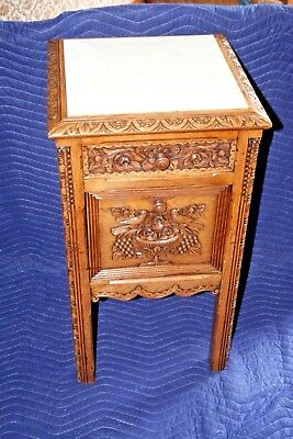 "Antique NICE 30"" French Bright Highly Carved Oak Marble Top Nightstand c. 1860"