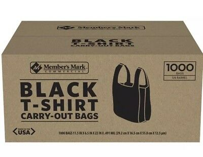 T-Shirt Thank You Plastic Grocery Store Shopping Carry Out Bag 1000ct - Black
