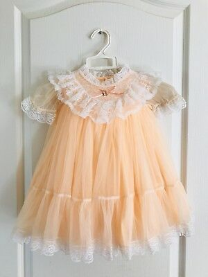 Vintage Peach Sheer Ruffle Lace Baby Dress