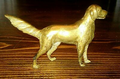 Vintage Solid Brass Pointer Dog Statue, 5x3, Retriever