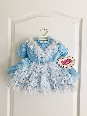 Vintage Blue Lace Nylon Ruffle Baby Dress