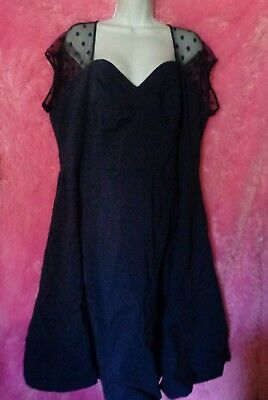PinUp 3XL Rockabilly Torrid Navy Blue Mesh dress 22-BUY 2 GET 1 FEE