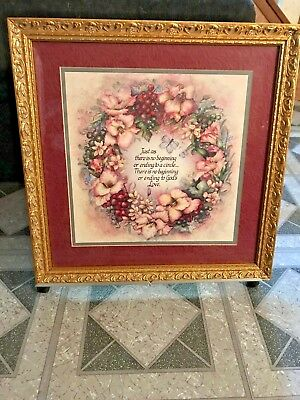 Home interiors Picture Floral Circle  of LoveJan Anderson  Gold Ornate Frame