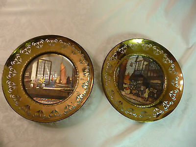 "Pair of Vintage English Brass Plates (under 10"") with Charming Foil Scenes"