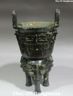 Top Value China Ancient Bronze Ware 3 Legs Elephant Dragon Beast Incense burner