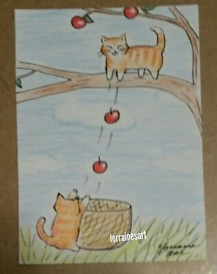 Aceo Cat ORIGINAL kitty drawing fall apple picking autumn cute NEW