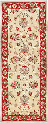 Traditional Hand-Knotted Modern Chobi Runner Area Rug Beige/Red Color (2 x 6)