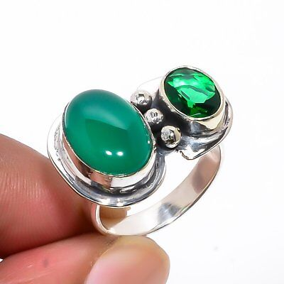African Green Onyx, Emerald Quartz Vintage Style 925 Sterling Silver Ring 8(31)